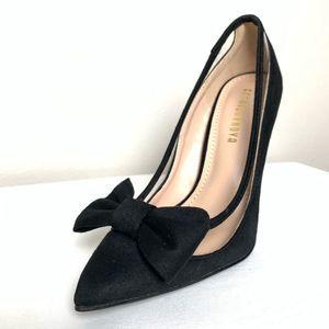 Fashion Nova Suede Heel with Bow | 5.5